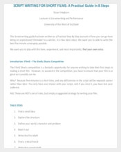 Short Film Script Writing Template PDF Free Download