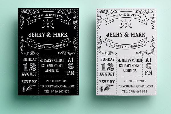 Retro Black & White Wedding Invitation Card Template