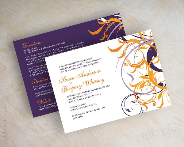 purple and orange wedding invitation card template