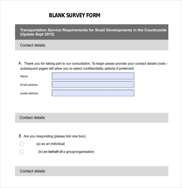 Blank Survey Form Free Example Format Download