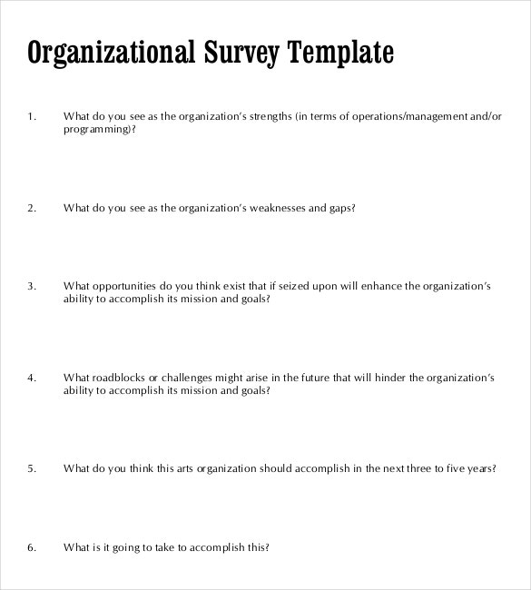 Organizational Survey Template PDF Document Download