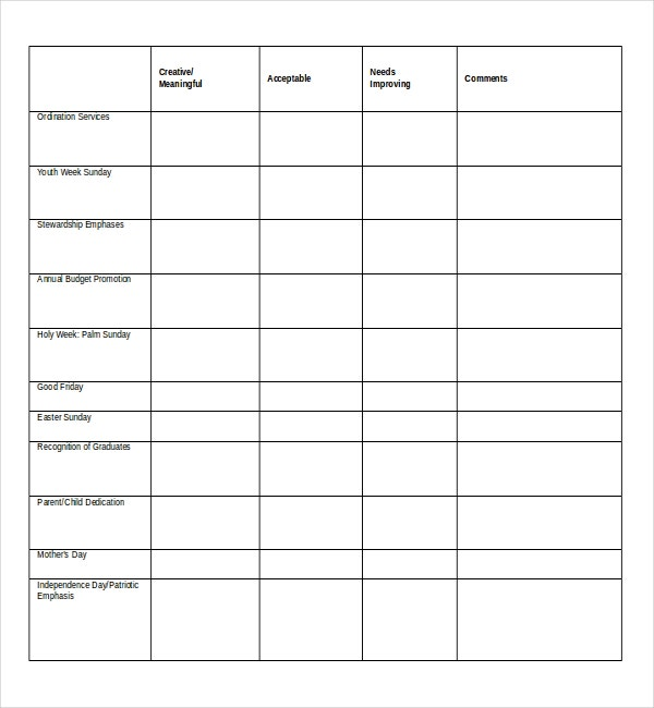 Church Worship Survey Template In MS Word Doc  Printable Survey Template