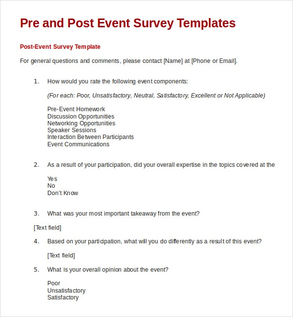 21 feedback survey templates free sample example for Event survey template word