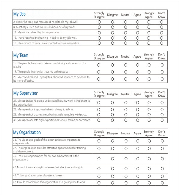 Employee Engagement Survey Template in PDF