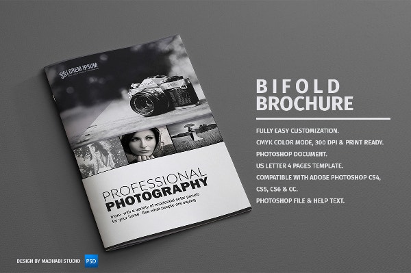 32 beautiful examples of bi fold brochures to inspire you for Photography brochure templates free