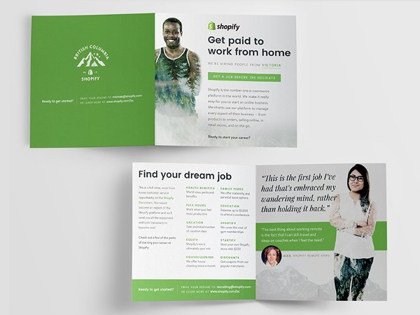 Shopify Direct Mailer Careers Bi-Fold Brochure