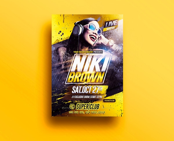 Clean Indesign Dj Night Club Party Flyer