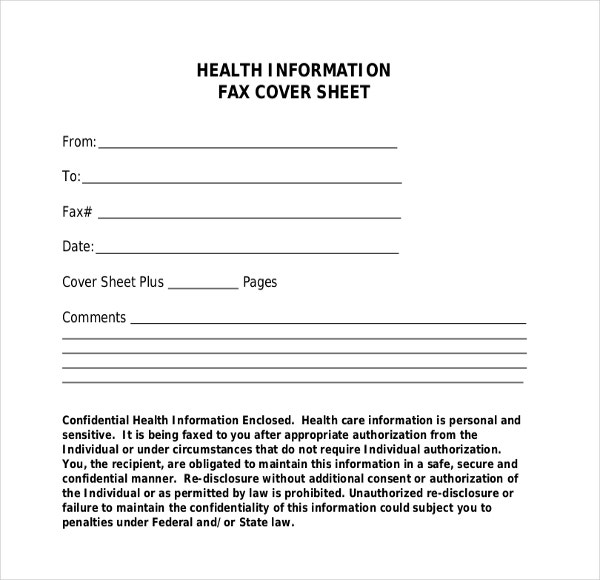 health information fax cover sheet template