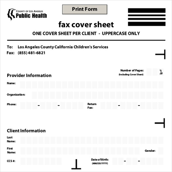 health care fax cover sheet template