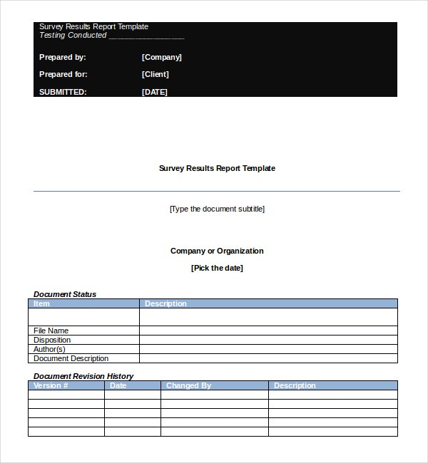 Survey Results Report Template Free MS Word Document Download