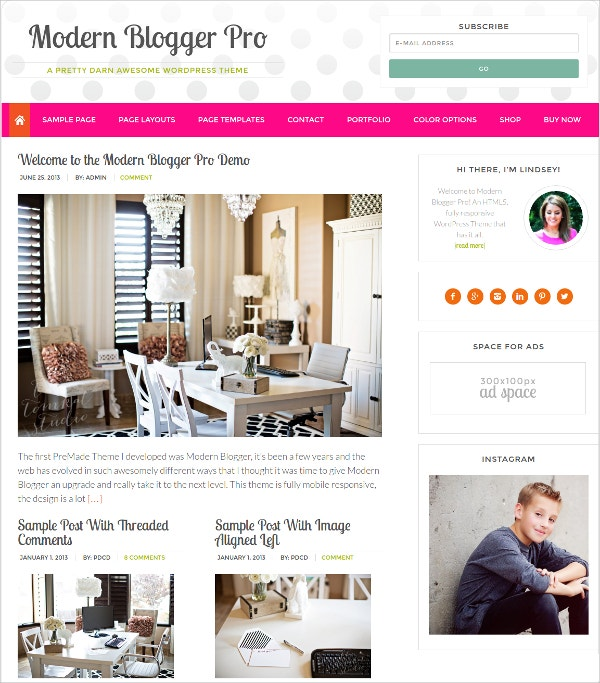 Modern Blog WordPress Feminine Theme $49