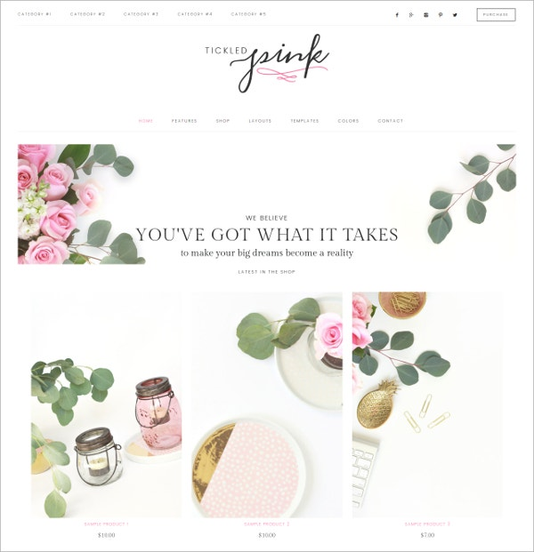 Feminine WordPress Social Media Theme $70