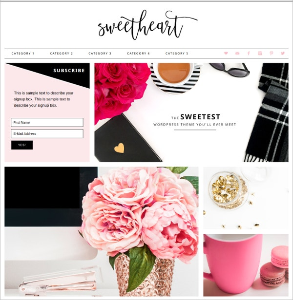 Lovely & Beautiful Feminine WordPress Theme $75