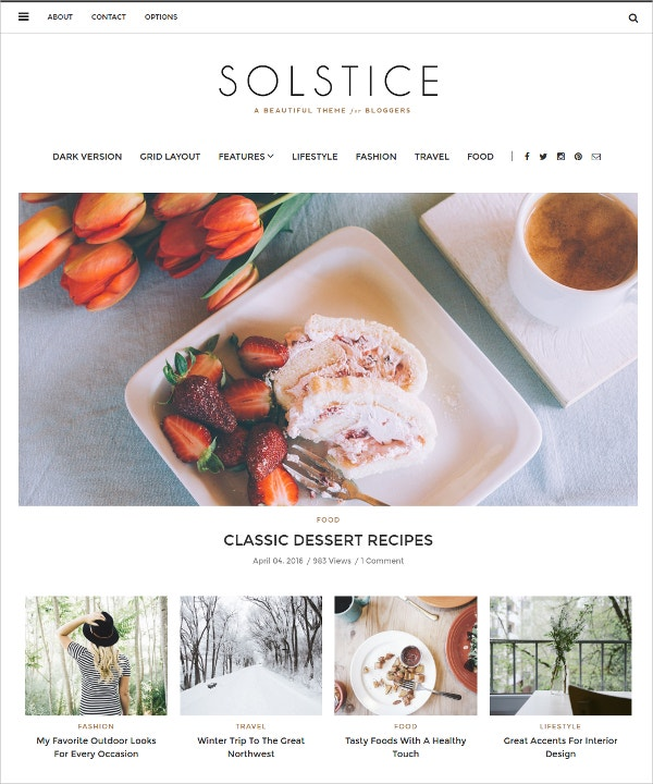 Multipurpose WordPress Blog Feminine Theme $44