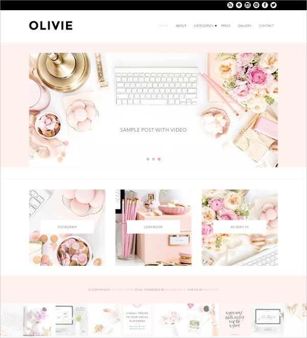 Fashion & Beauty WordPress Feminine Theme $79