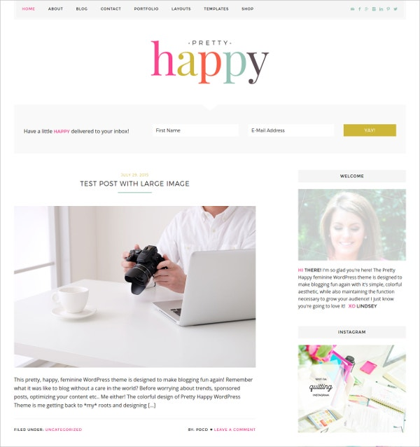 Colorful WordPress Feminine Theme $59