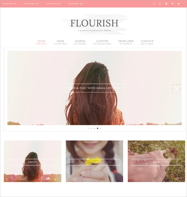 Gorgeous eCommerce Feminine WordPress Theme $50