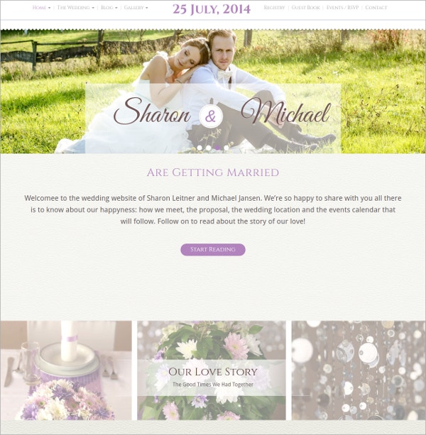 Unique Wedding Feminine WordPress Theme $39
