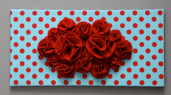 red and aqua 3d wall art