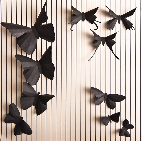 3d soot black butterfly romantic wall art