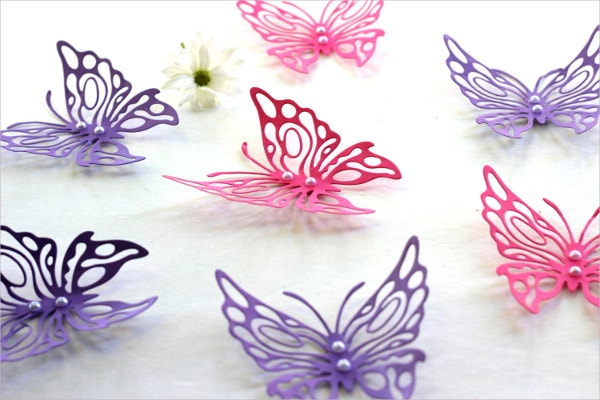 Pink u0026 Purple 3d Butterfly Wall Art  sc 1 st  Template.net & 31+ Amazing 3D Wall Art Ideas that you would want to take home ...