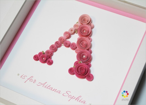paper roses nursery decor 3d wall art letters