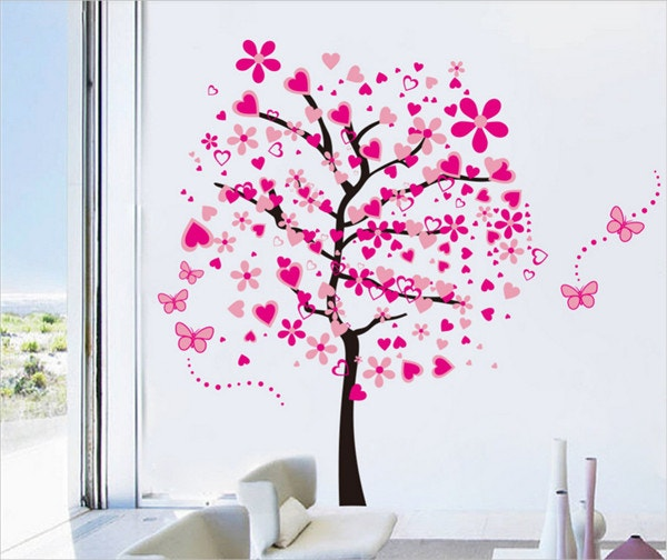 Beautiful Pink Butterfly Flower Tree Painting Wall Art
