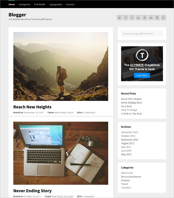 Blogger Free WordPress Theme