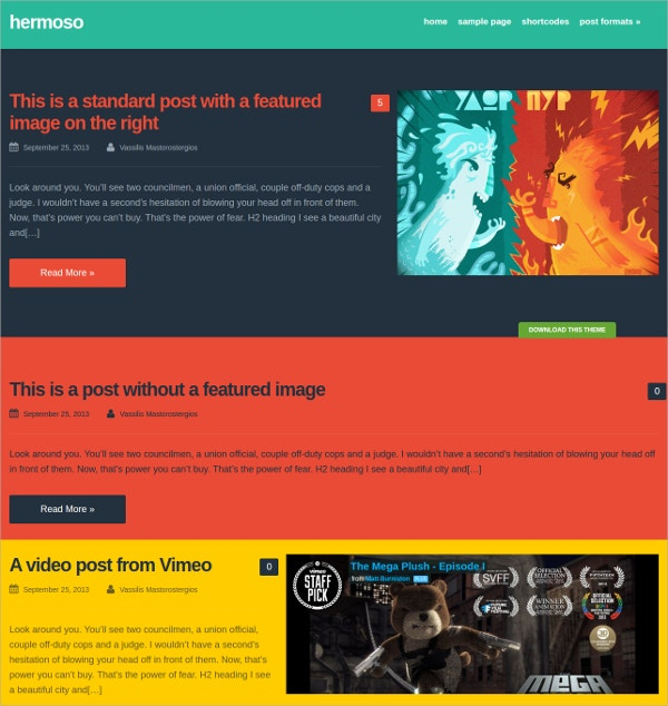 Colorful Free WordPress Blog Theme