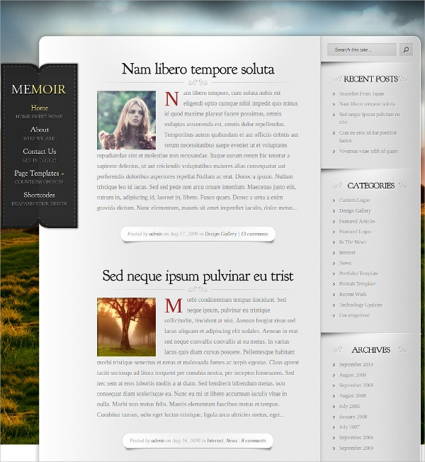 Free Unique WordPress Blog Theme