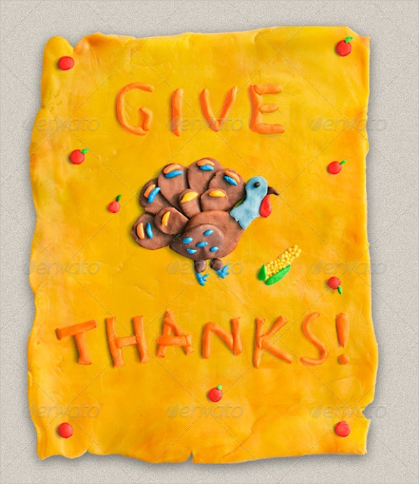 handmade plasticine thanksgiving card
