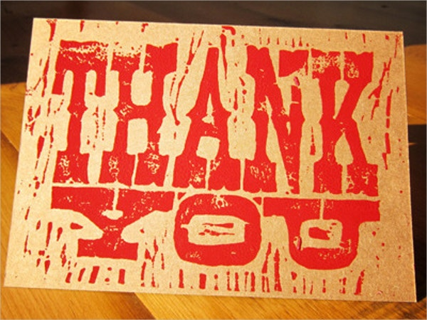 woodblock handmade thank you card
