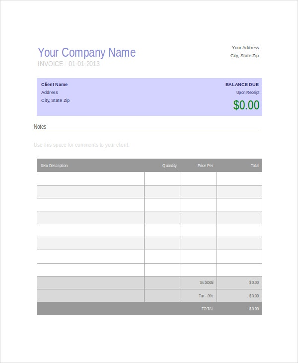 Cake Bill Format. Printable Retail Invoice Template Retail Invoice
