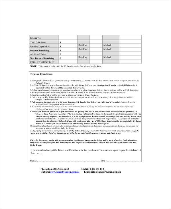 Cake Invoice Template   Free Word Pdf Documents Download