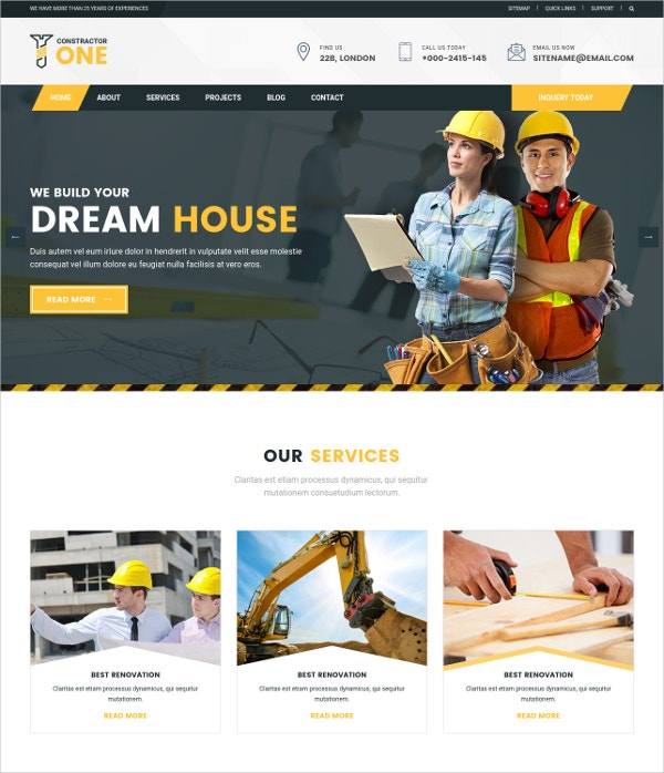 construction home renovation html5 template