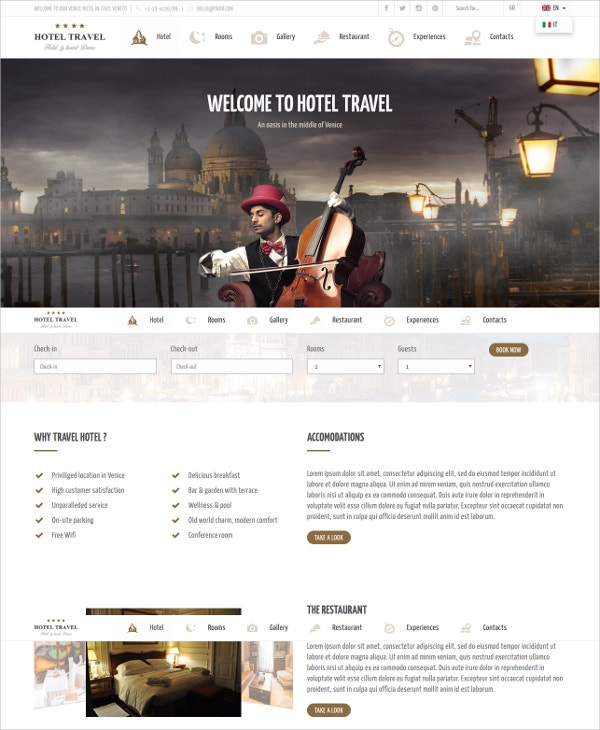 elegant hotel apartment html5 template