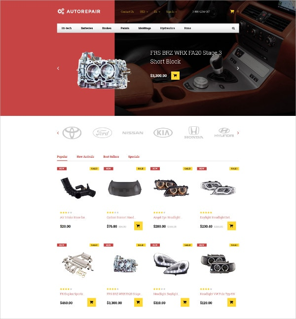 ecommerce car parts prestashop theme