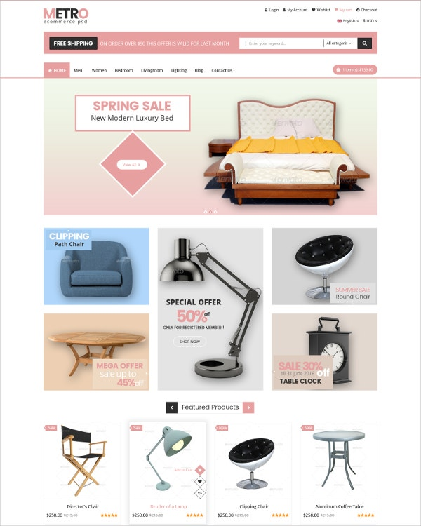 eCommerce Luxury Goods PSD Template