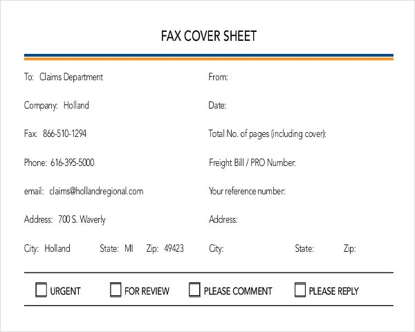 damage claim fax cover template example