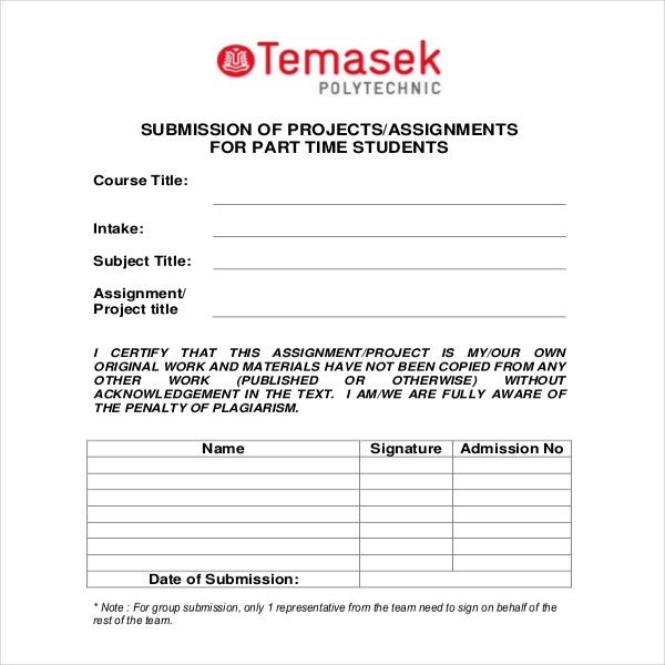 Cover Page for Project Submission Example Format