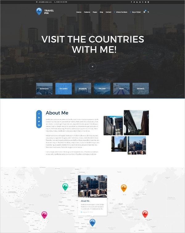One Page Travel Blog & Magazine PSD Template