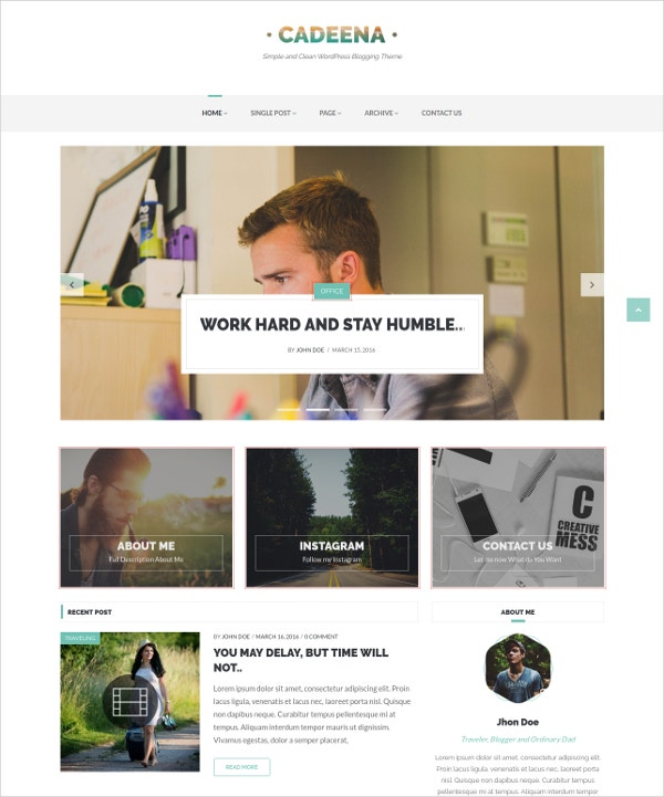 Simple & Clean WordPress Blogging Theme