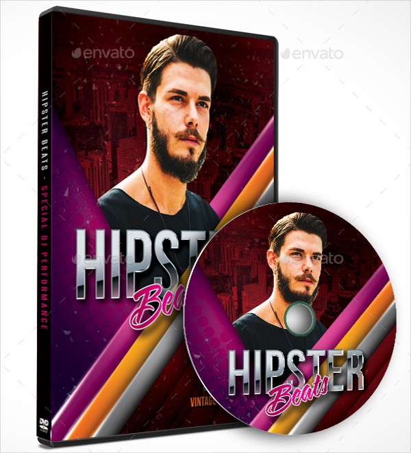 hipster beats music dvd cover template