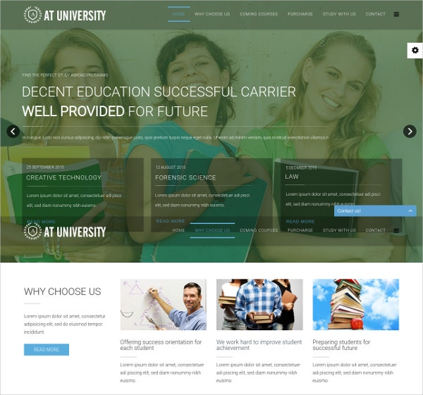 University Onepage Joomla Template