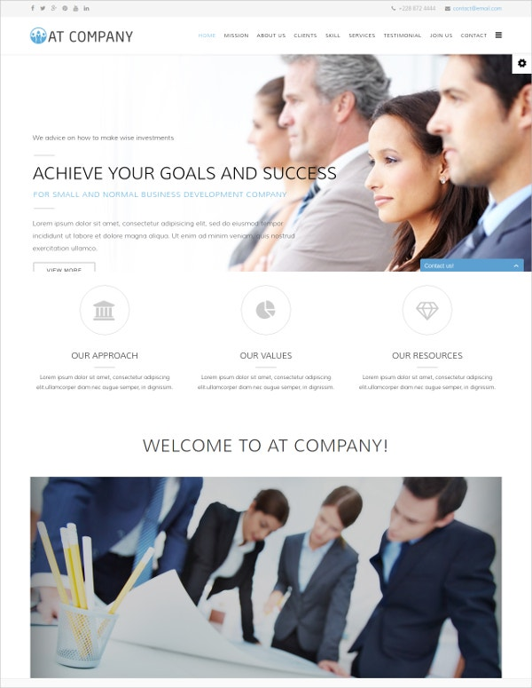 company onepage joomla template