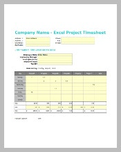 Project Timesheet Template Excel Format Download