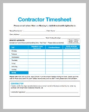 MS Excel Contractor Timesheet Template