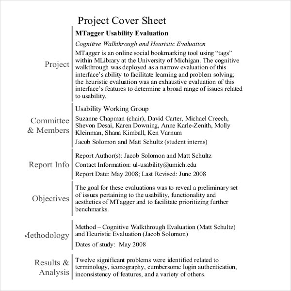 Project Sample Cover Sheet Template