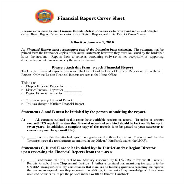 Financial Cover Sheet Template Example Format