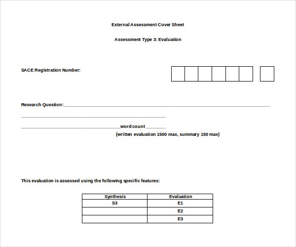 External Assessment Cover Sheet Template Sample